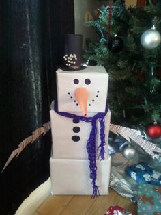 "This is my ""Frosty"" that I wrapped for our Secret Santa with the fam this year. Got the idea from (http://www.housebella.com/2011/12/21/snowman-gift-tower/) but I added some extra tidbits. The scarf I made from finger knitting, love it!"