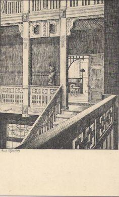 Federzeichnung Nr 14 von Erich Tugend 1913 Badehotel Vestibül