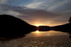 Sunset on lake water.