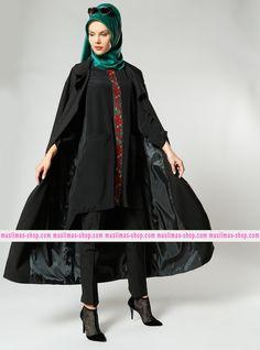 Le nostra offerta #vestitoislamico per la donna #musulmana  Shawl Collar Loose Topcoat - Black - Refka - Fabric Info:  70% Polyester  30% Cotton   - SKU: 223375. Buy now at http://www.muslimas-shop.com/shawl-collar-loose-topcoat-black-refka.html