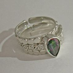 Offerings Sajen 925 Sterling Silver Mystic Topaz Faceted Pear Stack Ring Size 9