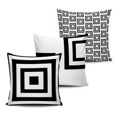 Conjunto 3 Almofadas Decorativas Geometricas - BLACK WHITE-15