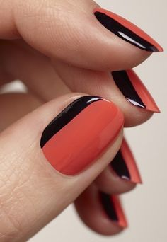 Two-tone nails - I like this with the vertical stripe