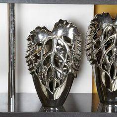 Mahalia Cut-Out Leaf Vase Brambly Cottage Mosaic Vase, Mosaic Diy, Origami Table, Tall Floor Vases, Exotic Art, Vases Decor, Table Decorations, Flower Vases, Metal