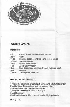 Collard Greens Recipe from Disney's Port Orleans Riverside resort Minus the bacon Old Recipes, Vintage Recipes, Vegetable Recipes, Cooking Recipes, Retro Recipes, Family Recipes, Recipies, Disney Inspired Food, Disney Food