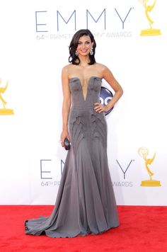 Emmy Awards 2012: Homeland star Morena Baccarin's gray gown had a low-cut bodice.  #Emmys