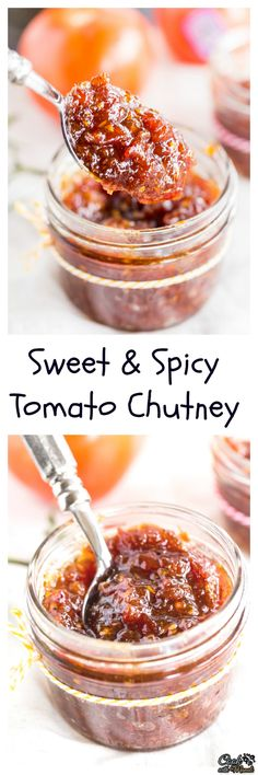 Sweet & Spicy Tomato Chutney is awesome with parathas or sandwiches! It's the perfect accompaniment to any Indian meal. Spicy Tomato Chutney, Tomato Relish, Jam Recipes, Canning Recipes, Vegan Recipes, Curry Recipes, Recipies, Chutneys, Indian Dishes