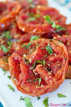 Balsamic Roasted Tomatoes ` Now THIS is the way (and the seasonings) I roast my tomatoes and they come out absolutely delicious (and extra special with cherry tomatoes which I freeze for the perfect snack)  Once again, THIS IS THE RECIPE I USE FOR MY TOMATOES - freeze them & they are ready for anything - if you can freeze them fast enough before you eat them all up!