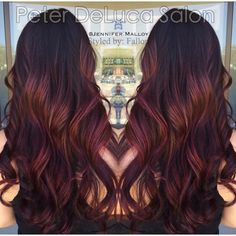 """34 Likes, 6 Comments - Peter DeLuca Salon (@peterdelucasalon) on Instagram: """"Lovely burgundy balayage from our head colorist Jennifer! Get this look 847-788-0933…"""""""