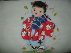 pano de prato ,pintado à mão, motivo japonesa, encontrado no inesmoreira60@hotmail.com