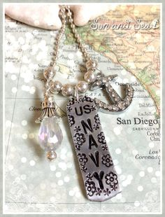 US Navy hand stamped US Navy charm necklace by Son by sonandsea, $24.00
