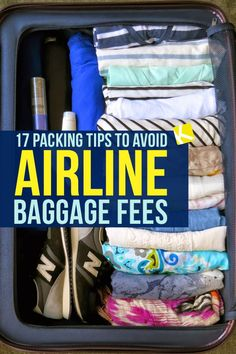 17 Packing Tips to Avoid Airline Baggage Fees - Here's the best packing tips that will ensure you NEVER have to pay baggage fees again! packing 17 Packing Tips to Avoid Airline Baggage Fees Suitcase Packing Tips, Packing Tips For Vacation, Carry On Packing, Pack A Suitcase, Packing Tricks, Packing For Europe, Packing Cubes, Carry On Luggage, Travel With Kids