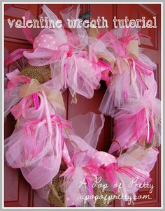Updated How to make an easy diy ribbon wreath for any season, just 3 easy steps. Make a Halloween ribbon wreath or one for any season. Valentine Day Wreaths, Valentine Decorations, Valentines Diy, Rag Wreath Tutorial, Halloween Ribbon, Diy Wreath, Rag Wreaths, Wreath Ideas, Burlap Wreaths