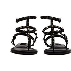 NEW SEASON Valentino Womens Leather Studded Thong Sandal ($815) ❤ liked on Polyvore featuring shoes, sandals, flats, toe post sandals, valentino shoes, valentino sandals, flat pumps and flats sandals