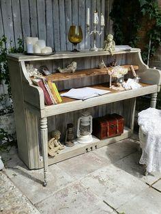 Upcycled piano into desk. Brilliant