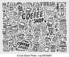 doodle coffee element background Vector - stock illustration, royalty free illustrations, stock clip art icon, stock clipart icons, logo, line art, EPS picture, pictures, graphic, graphics, drawing, drawings, vector image, artwork, EPS vector art