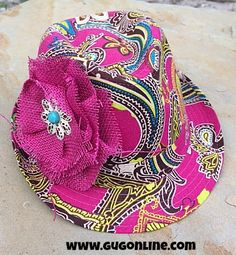 Pink Paisley Fedora with Pink Burlap Flower $36.95 www.gugonline.com