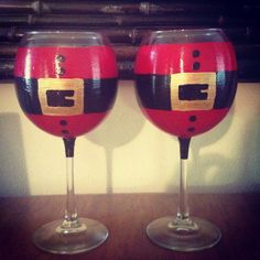 Christmas wine glasses by PaintedLetters on Etsy, $12.00