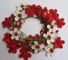 Oya necklace, Turkish Oya necklace, crochet flower necklace, beaded lariat…