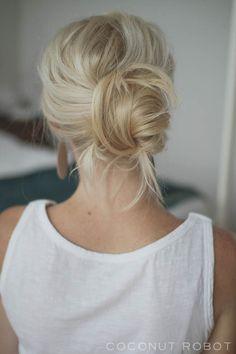 messy pretzel chignon-ish hair tutorial