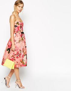 ASOS SALON - Prom dress rosato a fascia longuette con rose
