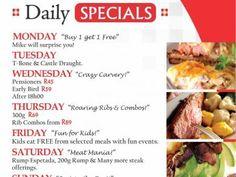 Mikes Kitchen Lambton - Daily Specials Lamb Shanks Oven, Sunday Buffet, River Restaurant, Rump Steak, Kitchen Buffet, Grilled Lamb, Daily Specials, Breakfast Buffet, Very Hungry Caterpillar