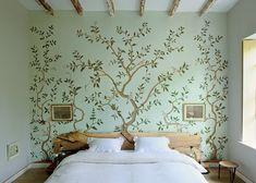 Birds in trees bedroom mural