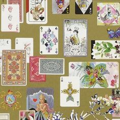 Maison de Jeu Wallpaper A luxurious wallpaper adorned with multicoloured antique playing cards set against a metallic gold ground. Maison de Jeu means 'gaming house' or 'house of cards'.