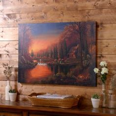 Waterfall Lodge Canvas Art Print