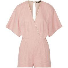 Vix Marion wrap-effect linen-blend playsuit ($300) ❤ liked on Polyvore featuring jumpsuits, rompers, pastel pink, pink rompers, wrap rompers, pink romper, playsuit romper and beach romper