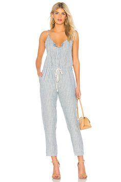 8451db52aba ENZA COSTA Sleeveless Drawstring Linen Strappy Stripe Jumpsuit Playsuit  Blue M 2  EnzaCosta  Jumpsuit  Casual