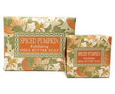 Spiced Pumpkin Soap by Greenwich Bay Trading Company. Capture the scents of Autumn, enriched with shea butter, pumpkin seed & clove oil.