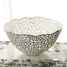 Carved Porcelain Lace Fruit Bowl by Isabelle Abramson Ceramics Available Work
