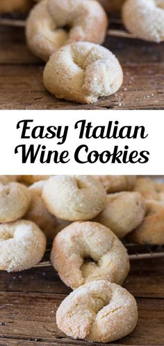 Wine cookies (ciambelle al vino) are a delicious, crunchy, and not too sweet Italian cookie, made with white wine. Fast and easy. Perfect to add to your Cookie Recipe Collection or make any time of the year! #cookies #winecookies Baking Recipes, Cookie Recipes, Dessert Recipes, Bar Recipes, Dessert Bars, Cupcake Recipes, Dessert Ideas, Yummy Recipes, Recipies