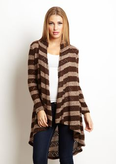 BLUE BIRD  Long Stripe Cardigan  $19.99 was  $81.00