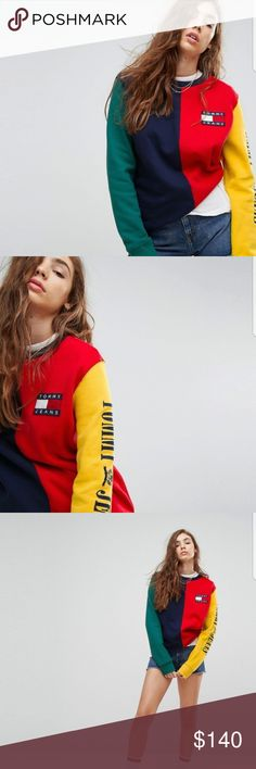 Tommy Hilfiger 90's Capsule Womens Sweater Brand New with Tags Colorblock Sweater for women size M. Great quality. Tommy Hilfiger Sweaters Crew & Scoop Necks