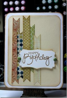 Always love a cute simple card idea. Quick masculine card or change colors and make it girlie. Masculine Birthday Cards, Birthday Cards For Men, Handmade Birthday Cards, Masculine Cards, Greeting Cards Handmade, Simple Birthday Cards, Male Birthday, Stampin Up Karten, Karten Diy