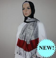Ipekce Malibu Shawl - Black / Silver / Red Turkish Hijab Sal
