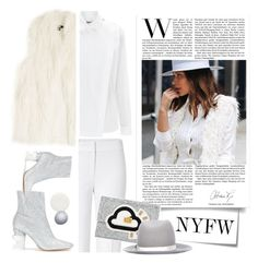 """NYFW - Street in Style -Marianna Hewitt"" by ansev ❤ liked on Polyvore featuring Post-It, EUDON CHOI, ESCADA, Kenzo, DKNY, Anya Hindmarch, rag & bone, Maison Margiela, Nails Inc. and NARS Cosmetics"