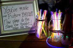 Brighten up your wedding reception with glow sticks
