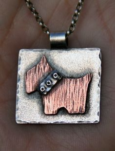 Scottie dog pendant made with sterling silver and copper