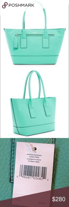 """Kate Spade Southport Avenue leather tote Beautiful robins egg blue called """"freshair """"  makes this leather """"harmony"""" tote pop! Brand new, and not fully unwrapped.  Classy. Great size.  8""""  handle drop. Wonderful gift! kate spade Bags Totes"""