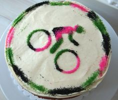 Sprinkles Bicycle Cake from a Stencil   Make Me Cake Me Bicycle Cake, Bicycle Rims, Bicycle Parts, Bicycle Birthday Parties, Lazy Cake, Beach Ball Cake, Cookie Monster Cupcakes, Creative Birthday Cakes, Two Layer Cakes