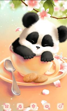 Kawaii Panda Bear Wallpaper