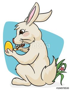 Cute Bunny Painting a Easter Egg