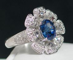 18k Sapphire & Rose-Cut Diamond Ring - simply glorious! from divinefind on Ruby Lane