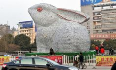 Giant Porcelain Rabbit Is Made from 30,000 Plates ~ LikePage