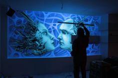 Mural UV, Black light mural, biomechanic mural, malowanie obrazu ściennego farbami ultra fioletowymi