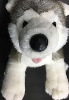 "Build A Bear Workshop Stuffed Dog Blue Eyed Siberian Husky Gray White 18"" #BuildaBear #AllOccasion"
