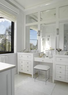 Paneled Mirrors, Double Sink Vanity with Drop Down Make-up Area